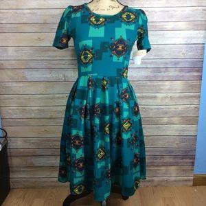 LuLaRoe green blue Aztec Print Amelia dress